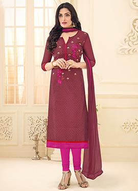 Burgundy Cotton Churidar Suit
