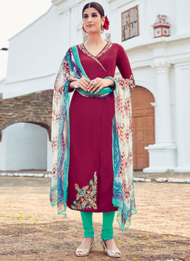 Maroon Embroidered Straight Suit