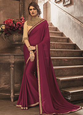 Burgundy Georgette Border saree