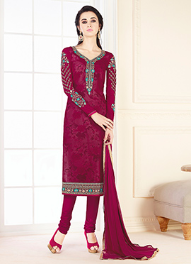 Burgundy Georgette Churidar Suit