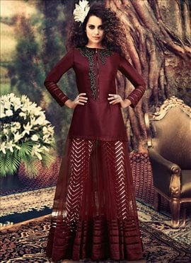 Burgundy Kangana Ranaut Ankle Length Anarkali