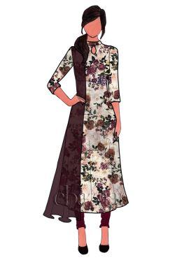 Burgundy Printed Satin Anarkali Suit