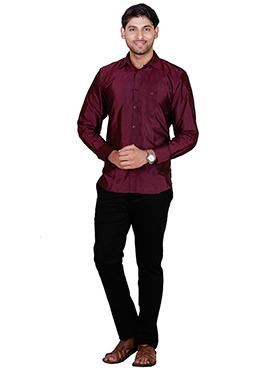 Burgundy Pure Silk Classic Shirt