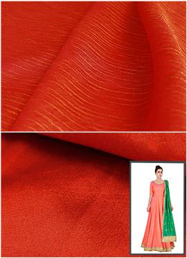 Burnt Orange Art Silk Anarkali Suit