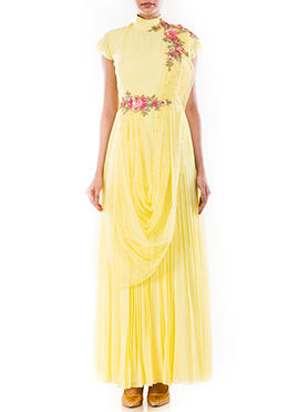Butter Yellow Pure Georgette N Net Saree Gown