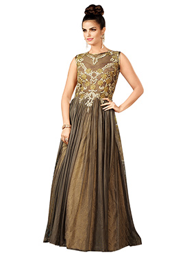 Brownish Yellow Embroidered Anarkali Gown
