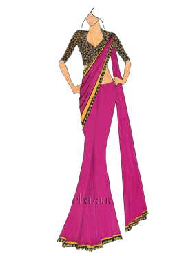 Cabaret  Saree With Embroidered Blouse