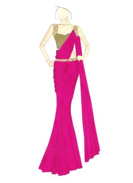 Cabaret Georgette saree with Gold Shimmer Blouse