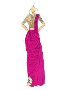 Cabaret Pink Georgette Pre  Draped Saree