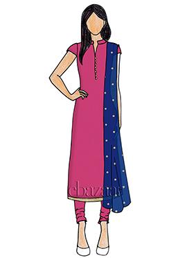 Cabaret Pink Taffeta Churidar Suit