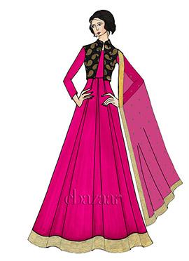 Cabaret Pink Taffeta Full Sleeve Abaya Set