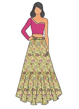 Cabaret Pink Taffeta One Shoulder Skirt Set