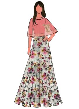 Calypso Coral Cotton Embroidered Cape Skirt Set