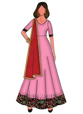 Candy Pink Taffeta Anarakali With Contrast Dupatta Set
