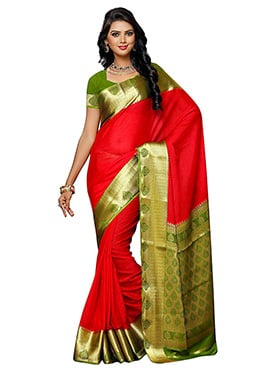 Candy Red Kancheepuram Art Silk Saree