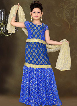 Captivating Blue Brocade Teens Lehenga Choli