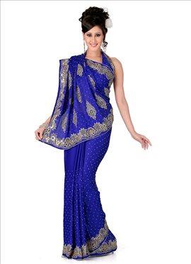 Captivating Look Crystals Enhanced Chiffon Saree