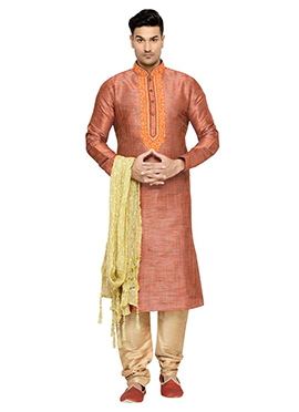 Carrot Orange Art Dupion Silk Kurta Pyjama