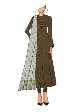 Casual Brown Anarkali Suit
