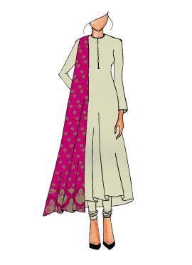 Casual Cream Anarkali Suit