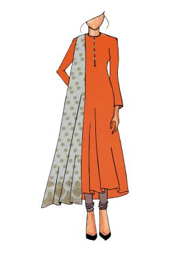 Casual Orange Anarkali Suit