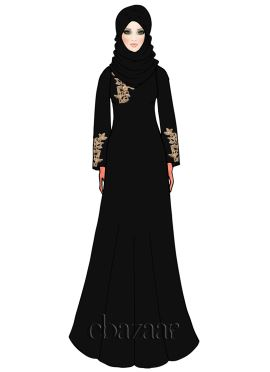 Caviar Georgette Embroidered Abaya