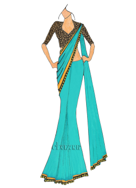 Ceramic  Saree With Embroidered Blouse