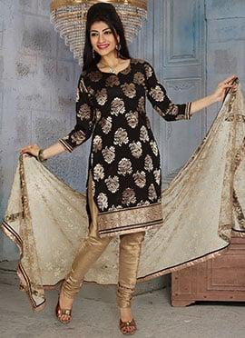 Chanderi Art Silk Black Churidar Suit