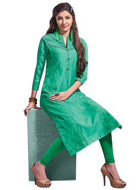 Chanderi Art Silk Green Churidar Suit