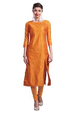Chanderi Art Silk Orange Churidar Suit