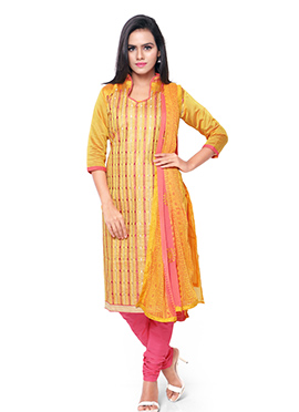 Chanderi Cotton Yellow Embroidered Churidar Suit