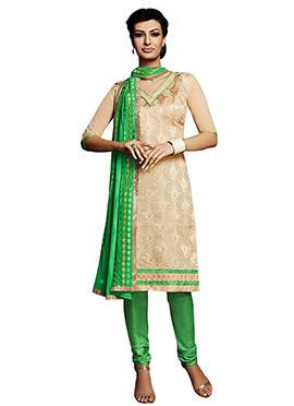 Chanderi Dark Cream Churidar Suit