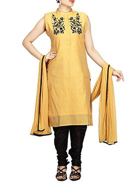 Chanderi Pure Silk Cotton Yellow Churidar Suit