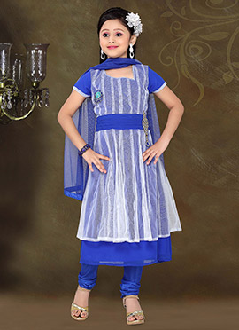 Charming Blue Net Teens Churidar Suit