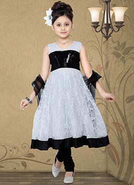 Charming White Net Teens Anarkali Suit