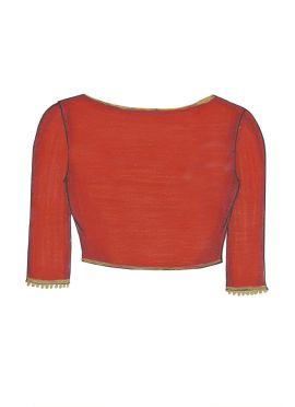 Cherry Red Art Dupion Silk Blouse