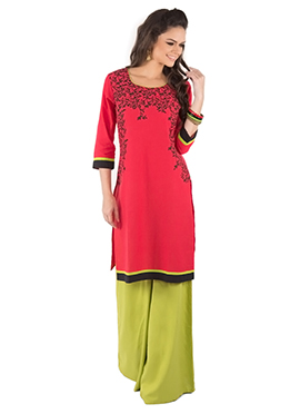 Cherry Red Blended Cotton Kurti