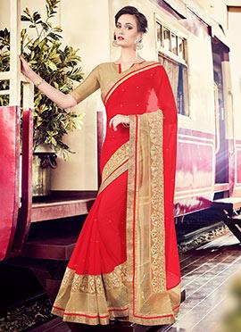 Chiffon Red Saree