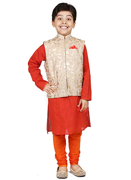 Chiquitita Beige N Red Kids Foil Printed Bandi Set