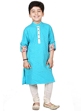 Chiquitita Blue Kids Embroidered Kurta Set