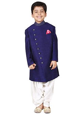 Chiquitita Blue Kids Plain Achkan Sherwani