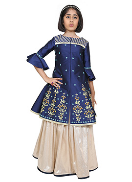 Chiquitita Blue N Off White Kids Long Choli Lehenga
