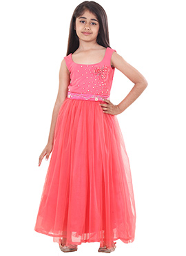 Chiquitita By Payal Bahl Coral Pink Kids Gown