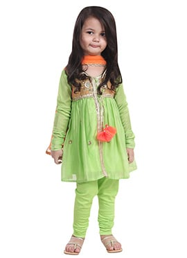 Chiquitita Light Green Kids Anarkali Suit