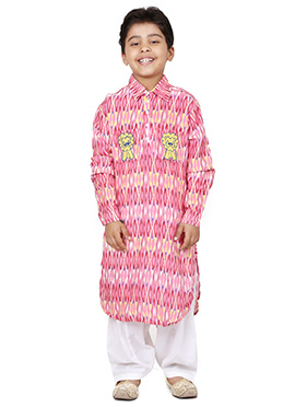 Chiquitita Light Pink Kids Printed Kurta Set
