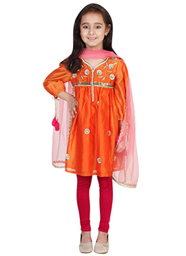 Chiquitita Orange Kids Anarkali Suit