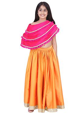Chiquitita Orange N Pink Kids Embroidered Lehenga