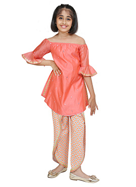 Chiquitita Peach Kids Indowestern Set