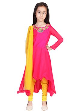 Chiquitita Pink A- Symmetrical Kids Anarkali Suit
