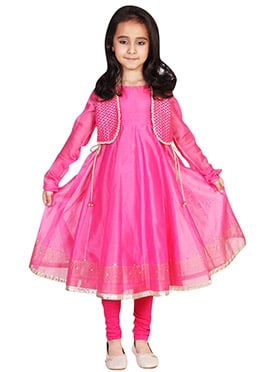 Chiquitita Pink Jacket Style Kids Anarkali Suit
